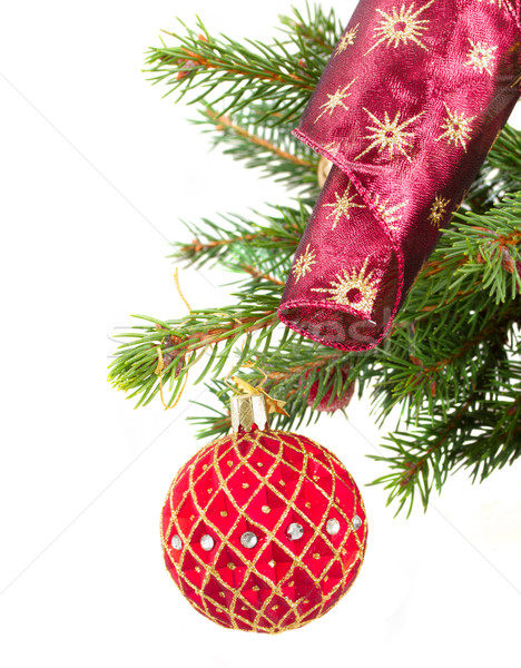 Foto stock: Vermelho · natal · bola · decorações · fita