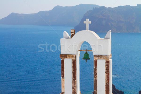 Bianco santorini isola Grecia chiesa vulcano Foto d'archivio © neirfy
