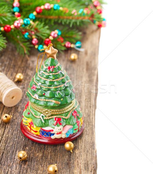 Natale evergreen albero decorazione legno confine Foto d'archivio © neirfy