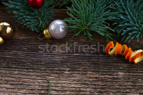 Noel yaprak dökmeyen ladin ahşap arka plan Stok fotoğraf © neirfy