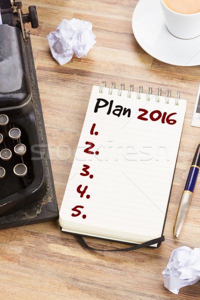 Notebook éves terv lista 2016 év Stock fotó © neirfy