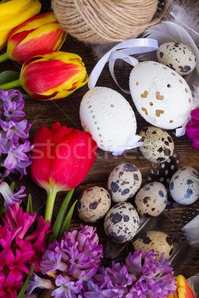 Flores da primavera ovos de páscoa primavera jacinto tulipa flores Foto stock © neirfy
