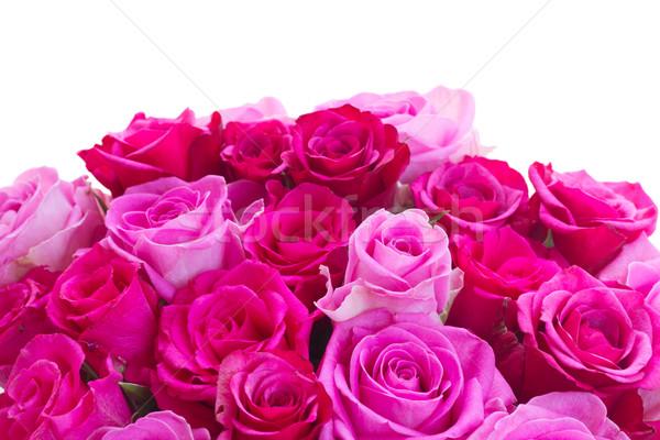 Buket taze pembe güller kırmızı sınır Stok fotoğraf © neirfy