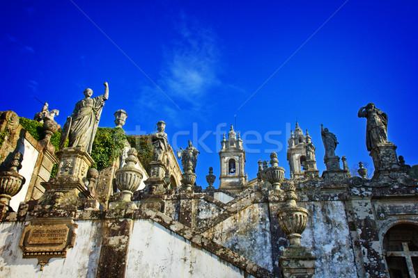 Jézus Portugália épület fal kereszt hegy Stock fotó © neirfy