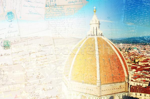 Stock fotó: Mikulás · Florence · Olaszország · klasszikus · képeslap · óváros