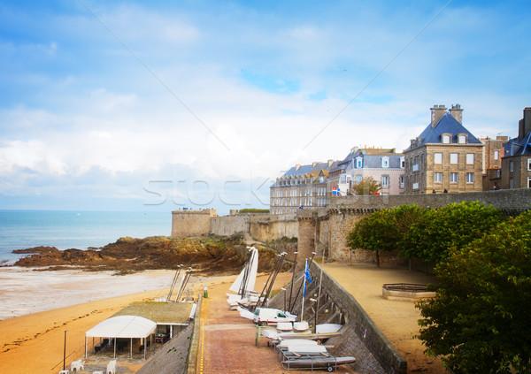 Eski şehir sahil Fransa Retro plaj Stok fotoğraf © neirfy