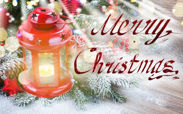 Natal lanterna vermelho decorado Foto stock © neirfy