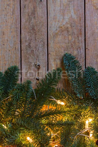 Foto d'archivio: Natale · confine · luci · vecchio · legno