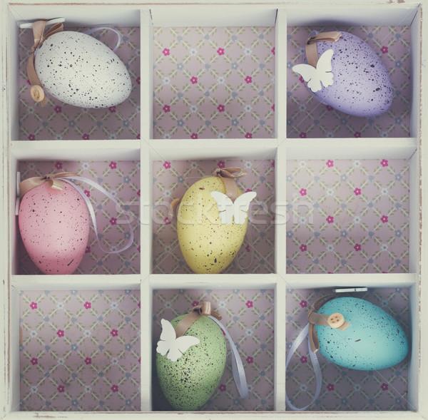 пасхальных яиц окна пастельный цветами деревенский Сток-фото © neirfy