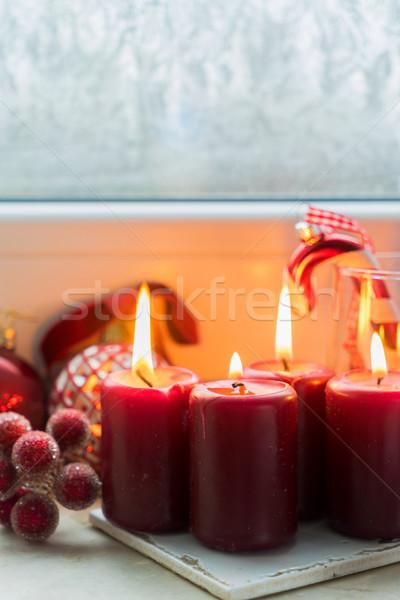 Christmas scène brandend licht vier Rood Stockfoto © neirfy