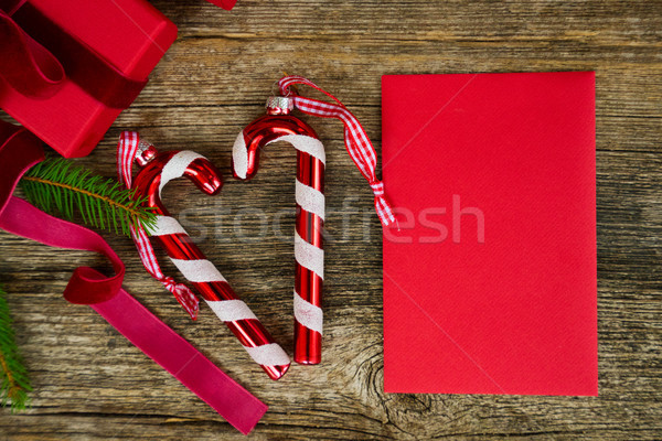 Christmas flat lay styled scene Stock photo © neirfy
