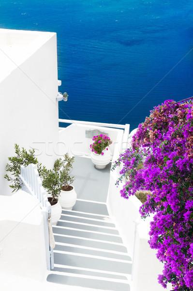 Ver vulcão escada santorini azul água Foto stock © neirfy