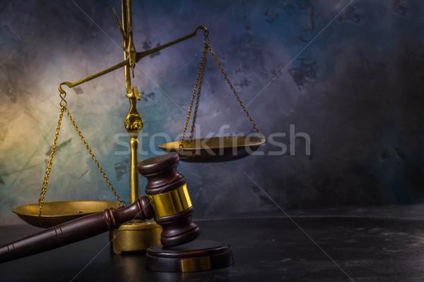 Droit justice marteau échelle gris rétro Photo stock © neirfy