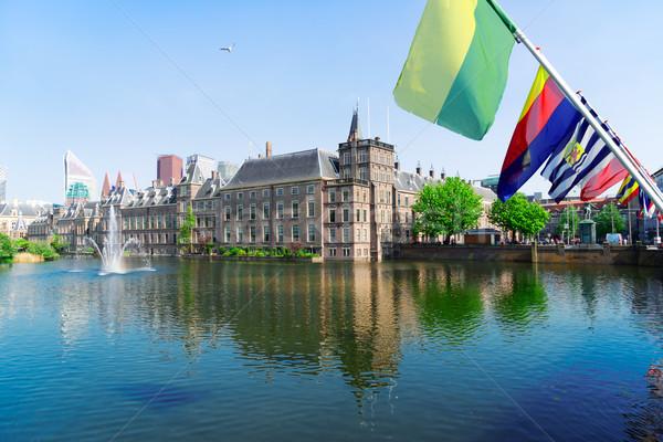 голландский парламент Голландии Нидерланды флагами служба Сток-фото © neirfy