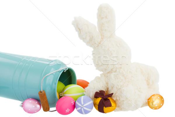 Stock fotó: Húsvéti · nyuszi · tojások · izolált · fehér · húsvét · baba