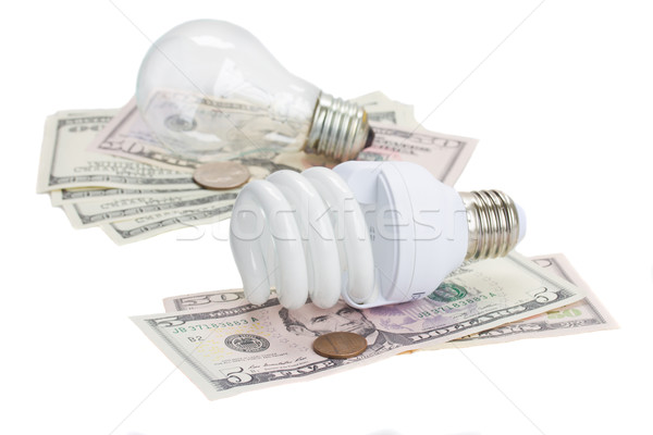 energy saving and normal   bulbs on dollars Stock photo © neirfy