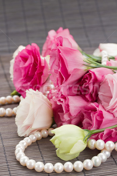bouquet of  eustoma flowers and pearls Stock photo © neirfy