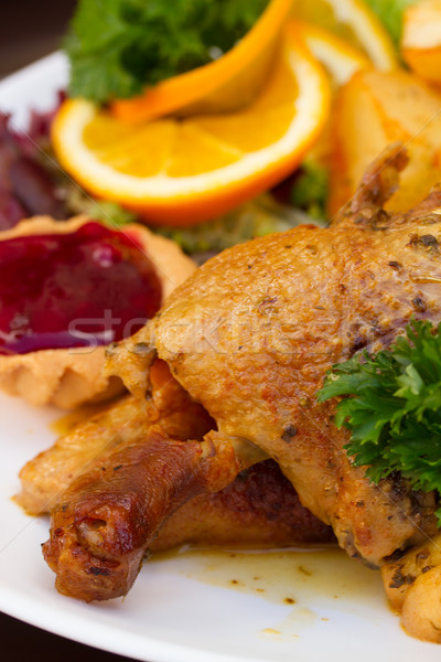 polish traditional dish - duck with apples  Stock photo © neirfy