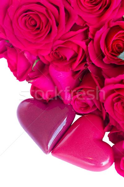 Stok fotoğraf: Kalpler · güller · sınır · çift · yalıtılmış · beyaz