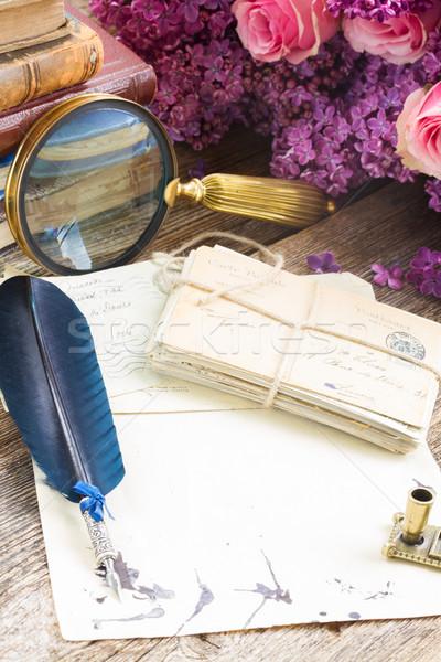 Toll toll öreg üres papír köteg posta Stock fotó © neirfy