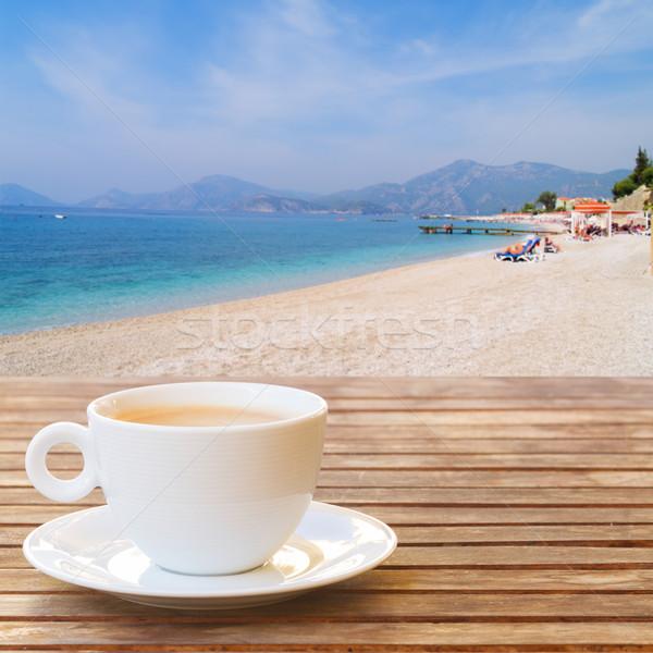 лет Кубок кофе белый деревянный стол воды Сток-фото © neirfy