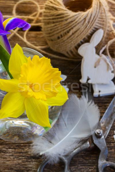 Húsvét nárcisz nyulak citromsárga friss díszítések Stock fotó © neirfy