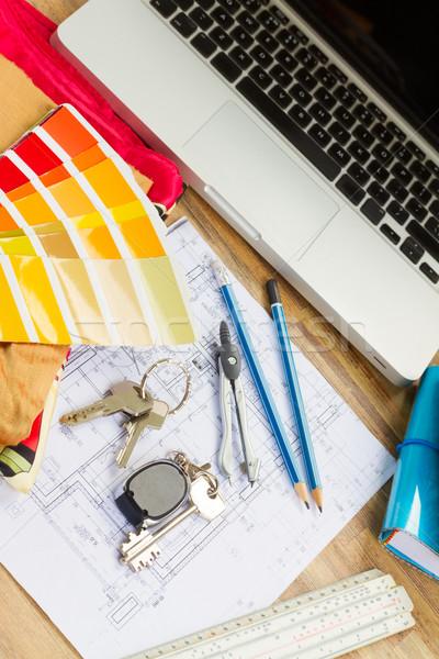 Сток-фото: рабочих · таблице · интерьер · Desktop · архитектурный · плана
