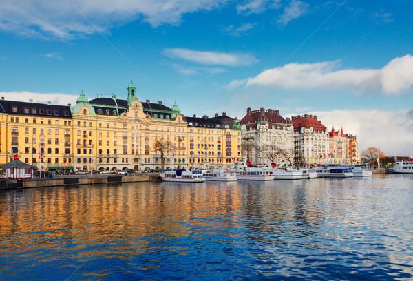 Panoramę Sztokholm Szwecja sceniczny panorama starówka Zdjęcia stock © neirfy