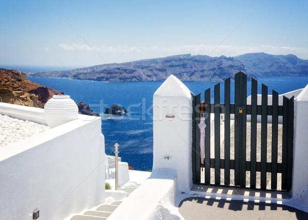 Belo detalhes santorini ilha Grécia azul Foto stock © neirfy
