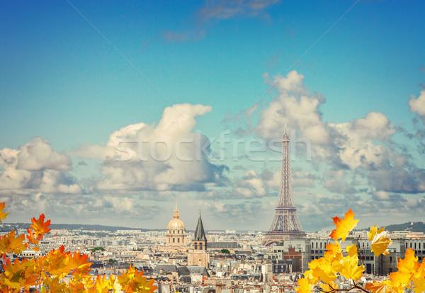 Sziluett Eiffel torony város tetők fölött Stock fotó © neirfy