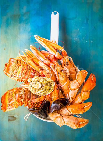 свежие морепродуктов синий ретро рыбы Сток-фото © neirfy