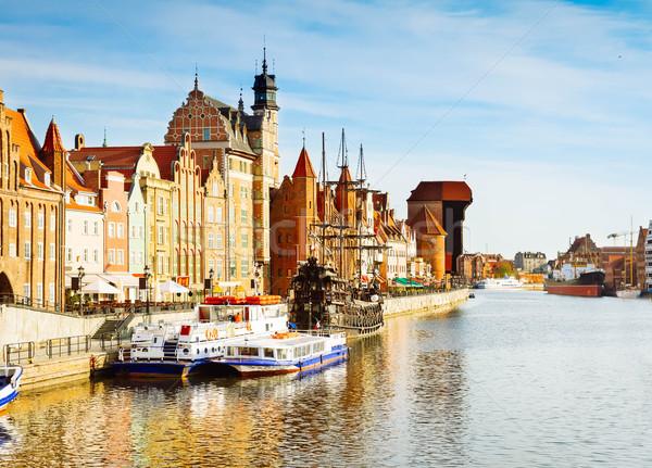 Fiume danzica città vecchia Polonia retro acqua Foto d'archivio © neirfy