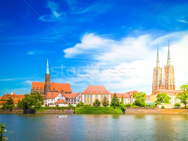 острове Польша старый город ретро небе здании Сток-фото © neirfy