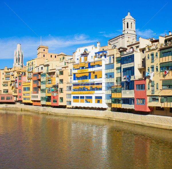 houses on river Onyar, Girona, Spain Stock photo © neirfy