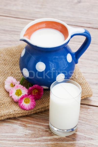 milk in glass  on wooden table Stock photo © neirfy