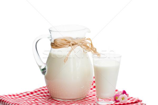 jar full of milk and glass Stock photo © neirfy
