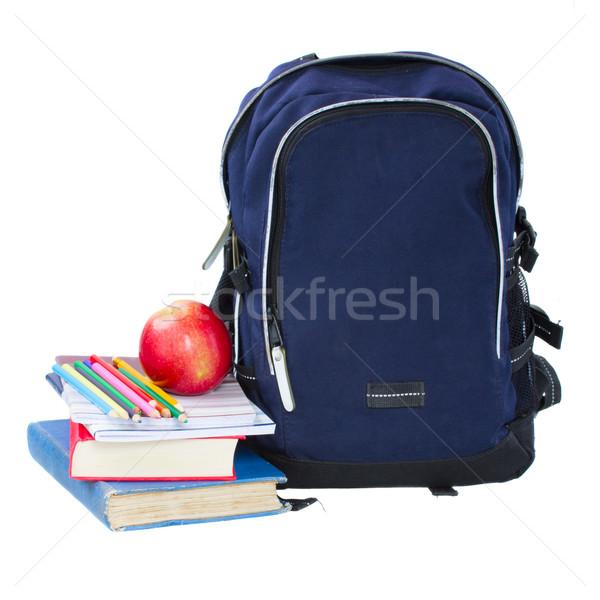 Kék iskola hátizsák irodaszer izolált fehér Stock fotó © neirfy