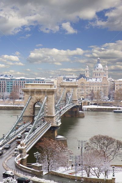Chain Bridge and Pest skyline at day ,Budapest Stock photo © neirfy