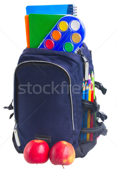 Iskola hátizsák irodaszer kék almák izolált Stock fotó © neirfy