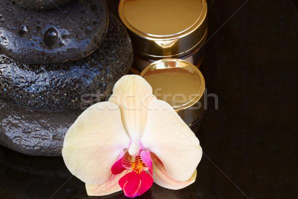 Orchidea trattamento termale fresche fiore massaggio pietre Foto d'archivio © neirfy