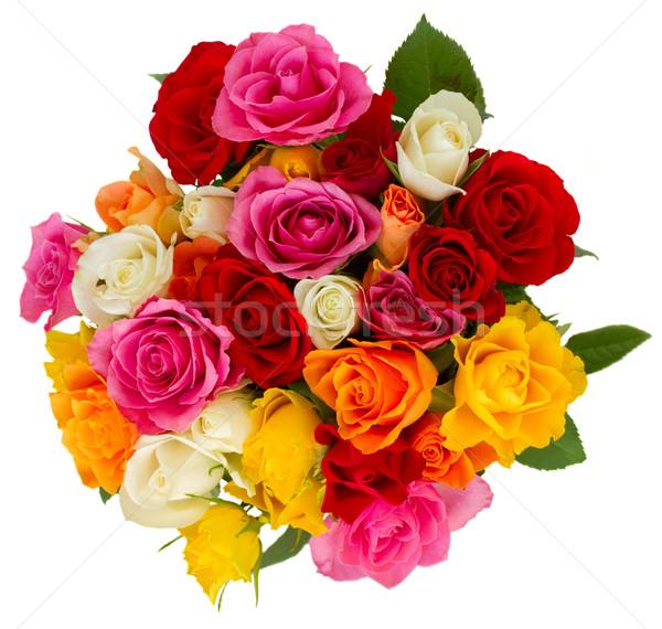 Buket taze güller pembe sarı turuncu Stok fotoğraf © neirfy