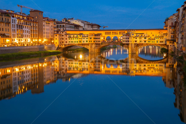 Floransa İtalya ünlü köprü nehir gece Stok fotoğraf © neirfy