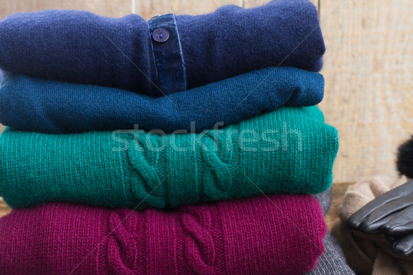 Ingesteld wollen kleding gevouwen groene Stockfoto © neirfy