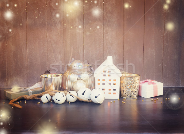 Cristmas decorations and winter house Stock photo © neirfy