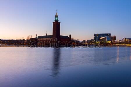 Sztokholm Szwecja miasta sali noc wody Zdjęcia stock © neirfy