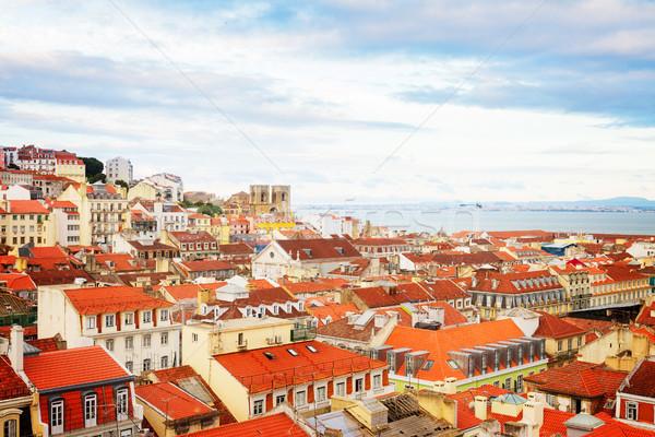 Skyline Lisbona Portogallo città vecchia cattedrale retro Foto d'archivio © neirfy