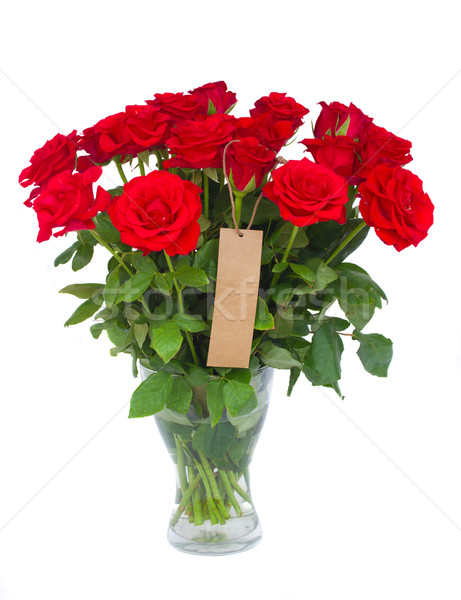 bouquet  of scarlet roses in vase with tag Stock photo © neirfy