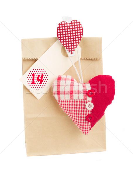 Papírzacskó valentin nap 14 szív ajándék izolált Stock fotó © neirfy