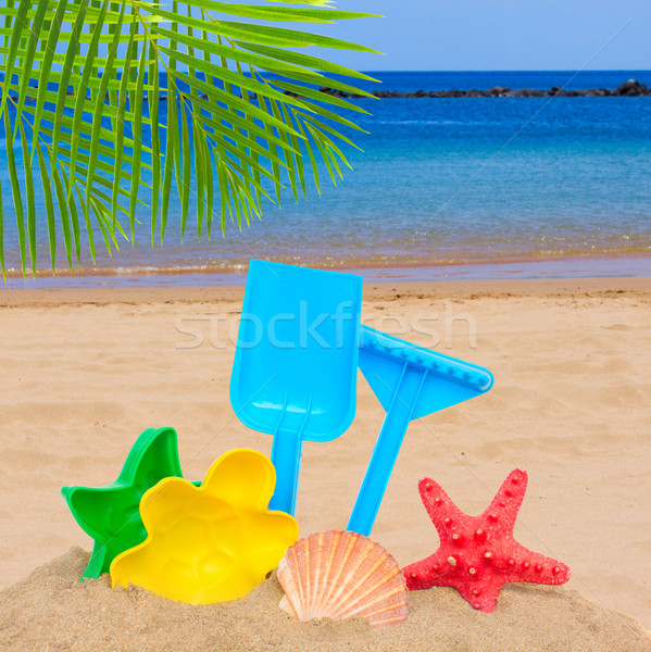 sea shore with bright plastic beach toys Stock photo © neirfy