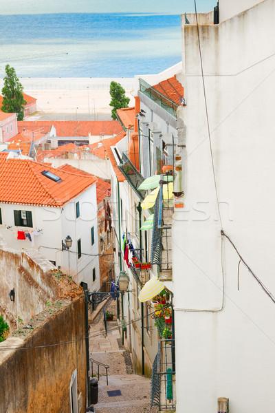 улице старый город Лиссабон лестницы Португалия фон Сток-фото © neirfy